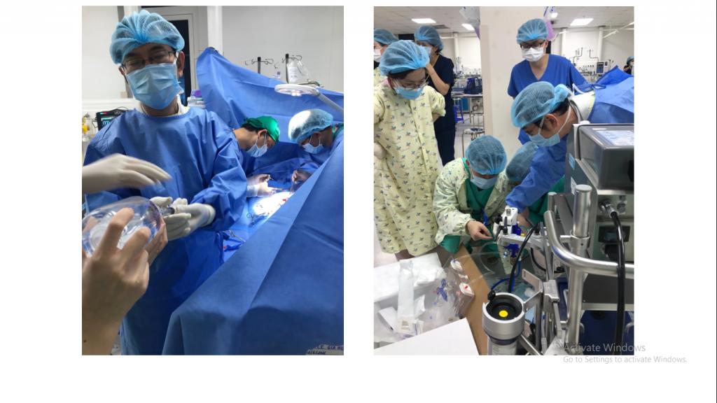 Thực hiện kỹ thuật ECMO trên trẻ sơ sinh gồm ê kíp phẫu thuật và ê kíp khởi động hệ thống ECMO